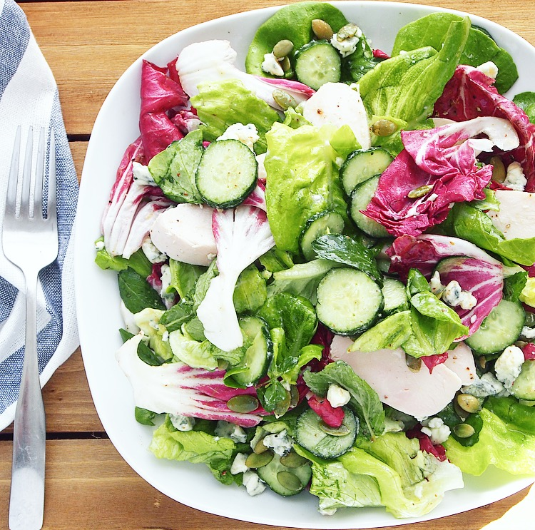 Easy Chicken and Blue Cheese Salad with Honey Mustard Vinaigrette. The Easiest of Salad Recipes!