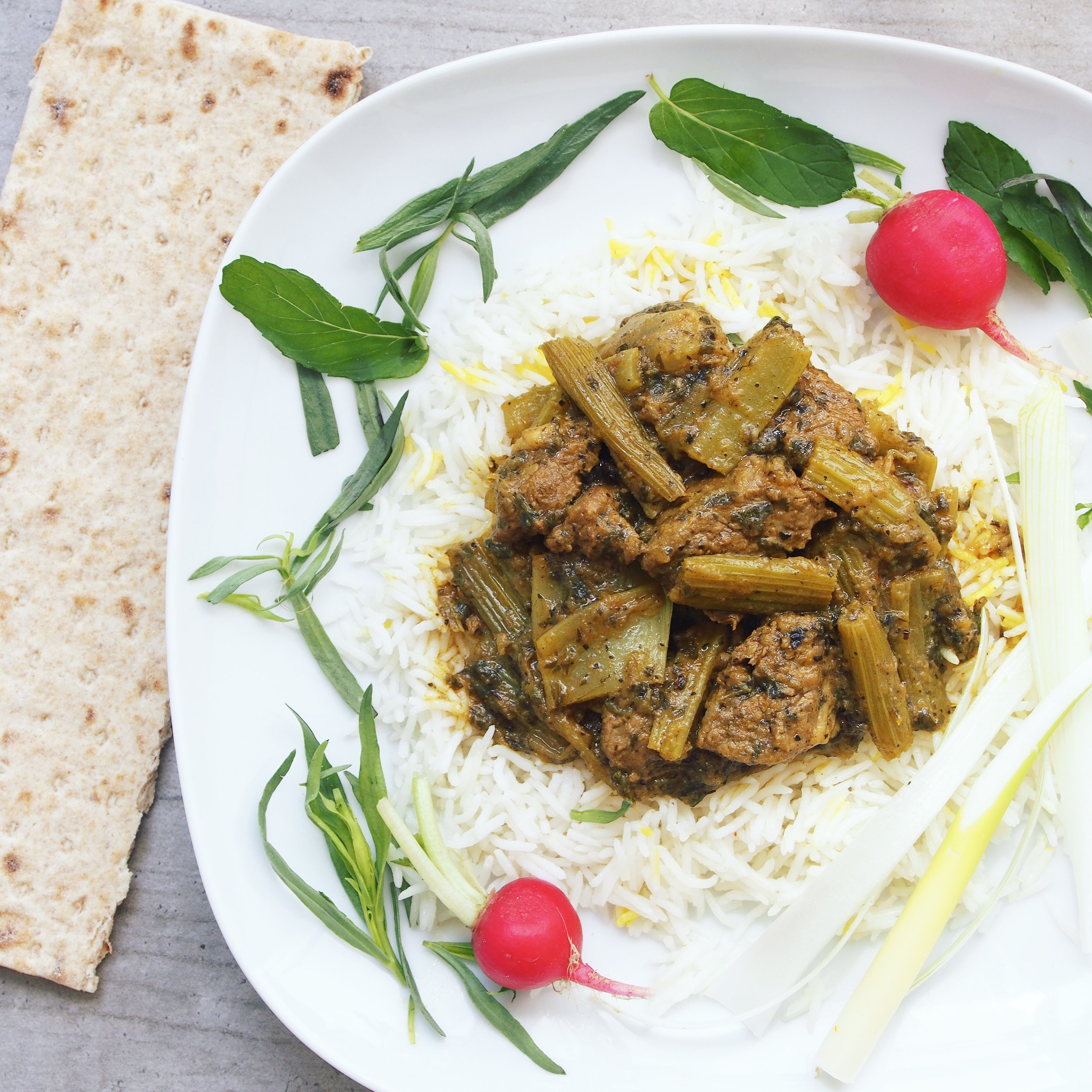 Khorest-e Karafs is a Persian Lamb and Celery Stew. It's a traditional Persian recipe.