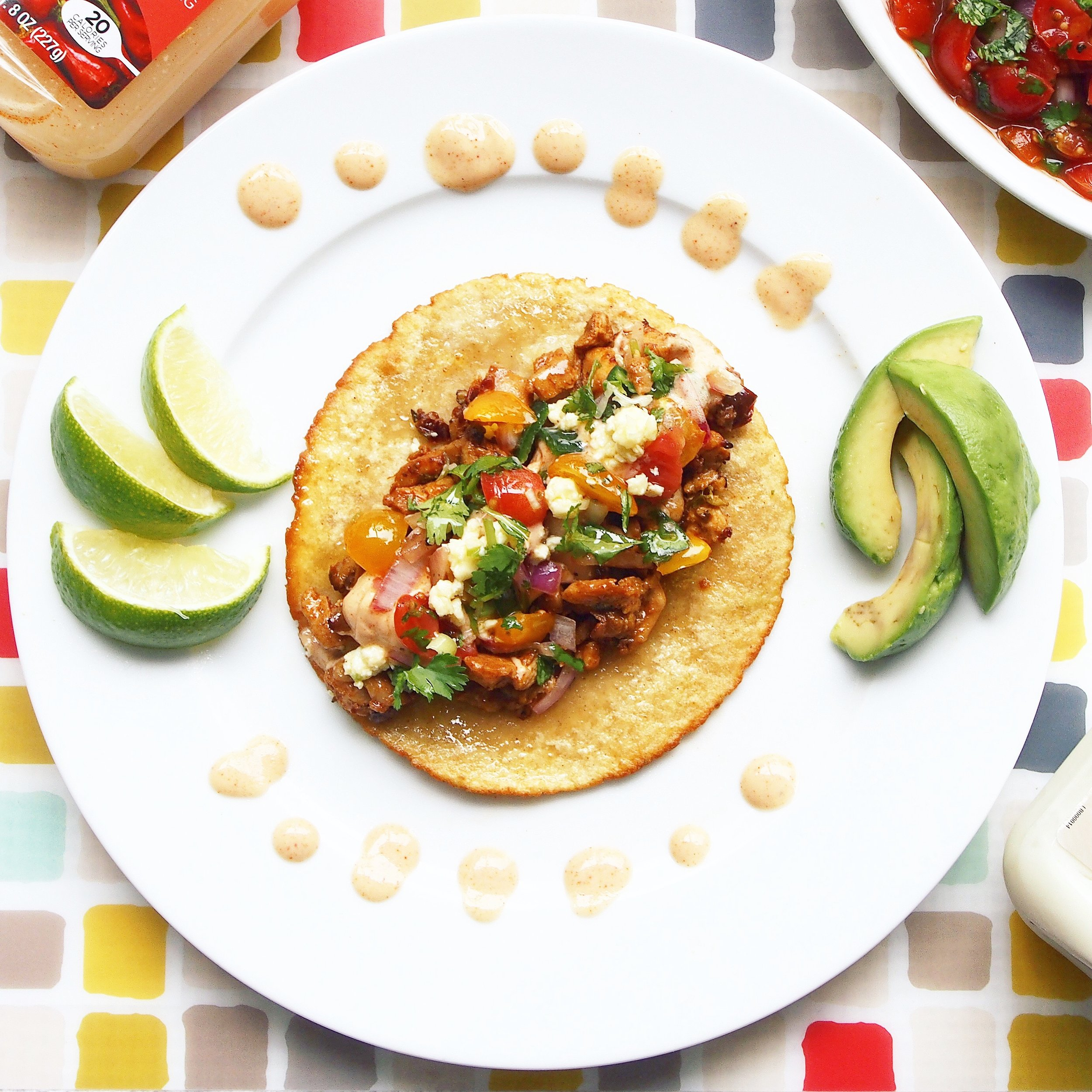 Check out these gorgeous spicy tacos with chipotle chilies, jalapenos, and tomato salsa