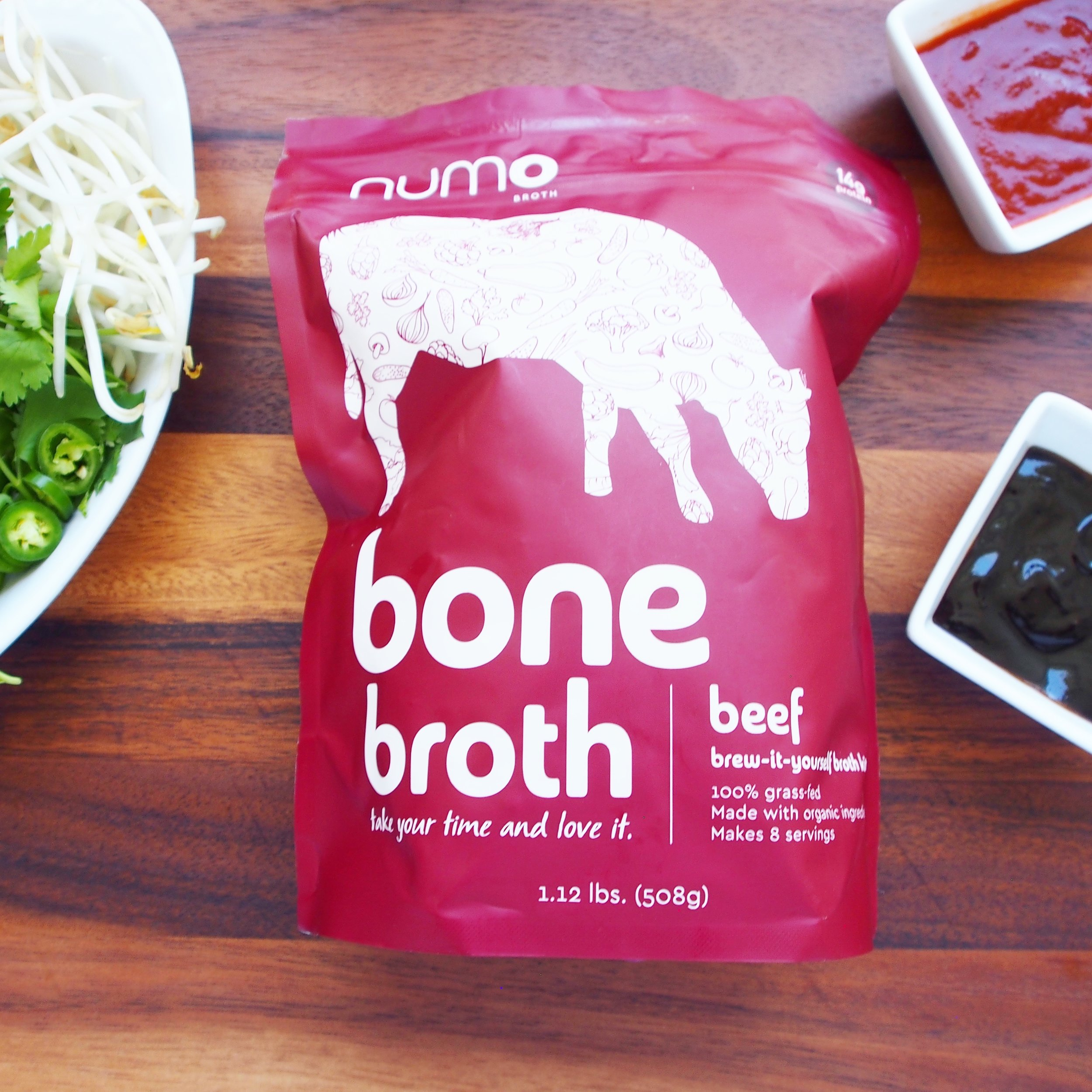 This Numo beef bone broth is the perfect broth to use for your easy beef pho recipe! Simply pop a pouch in your slow cooker, and cook overnight for the most delicious slow-cooker pho you can make with very little hands-on time!
