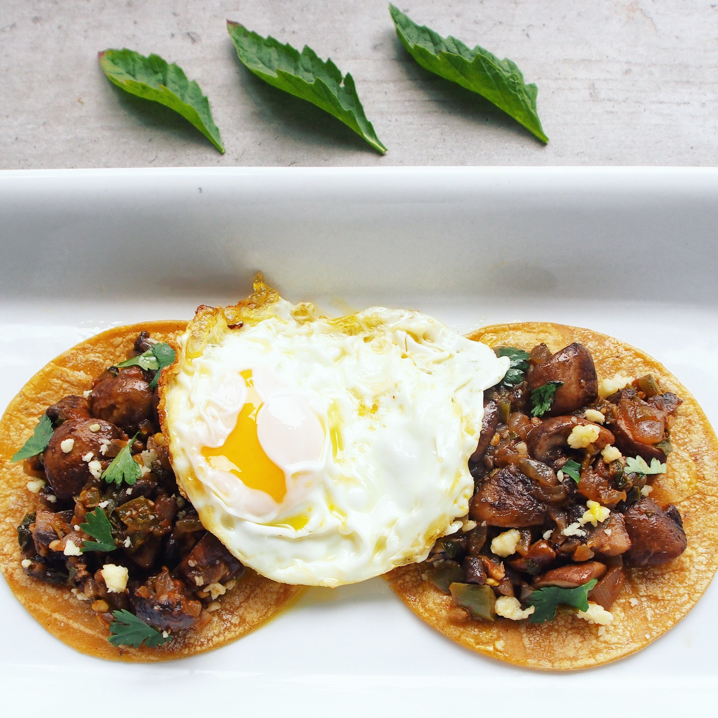 These mushroom tacos with fried eggs make for a great vegetarian taco recipe! They're some of the healthiest tacos you can make because mushrooms are rich in many important vitamins and minerals.