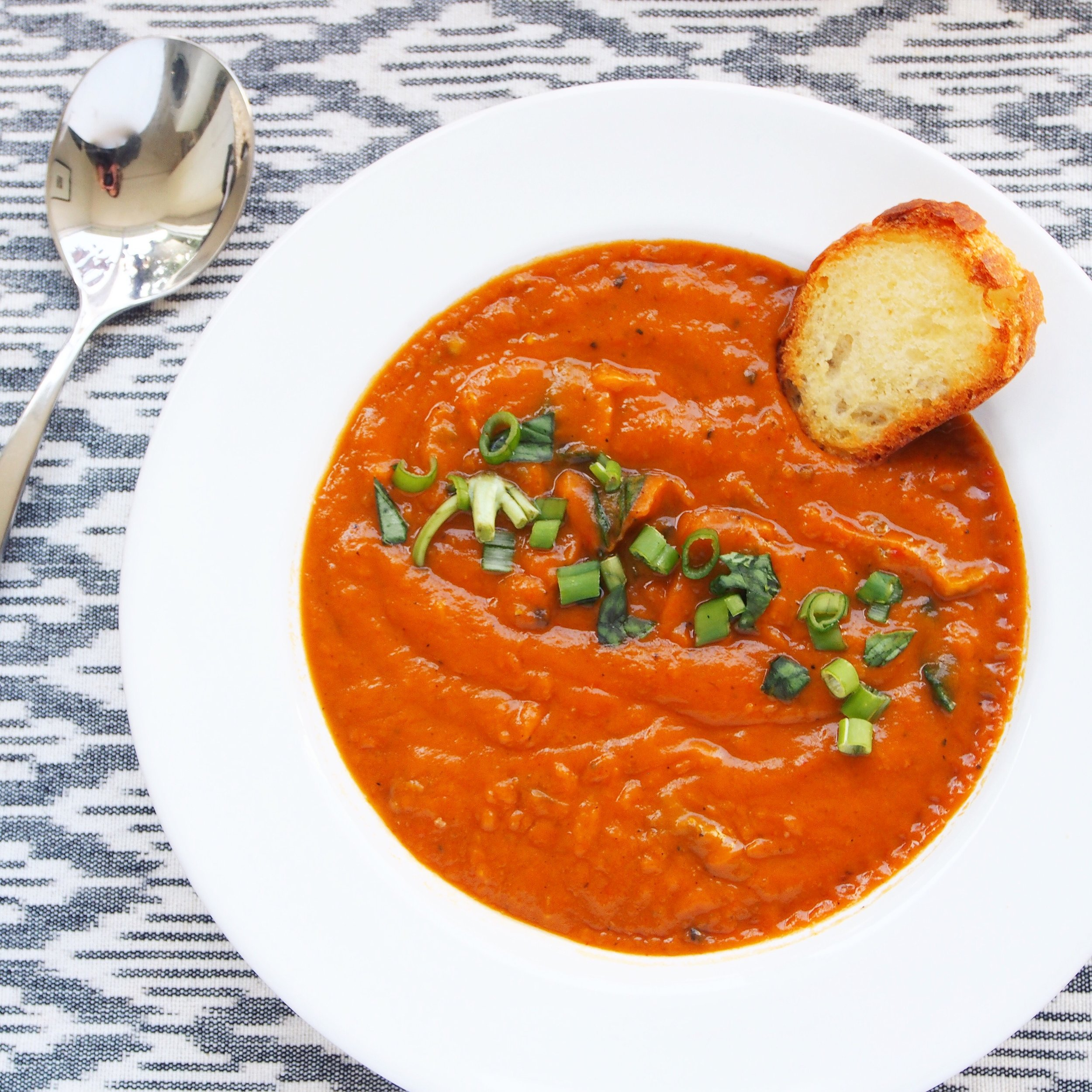 This Roasted Red Bell Pepper and Sweet Potato Soup recipe is a great vegan soup recipe. The soup is healthy, nutrient-dense, and full of vitamins and minerals. It's a light soup recipe that will keep you feeling great in summer!