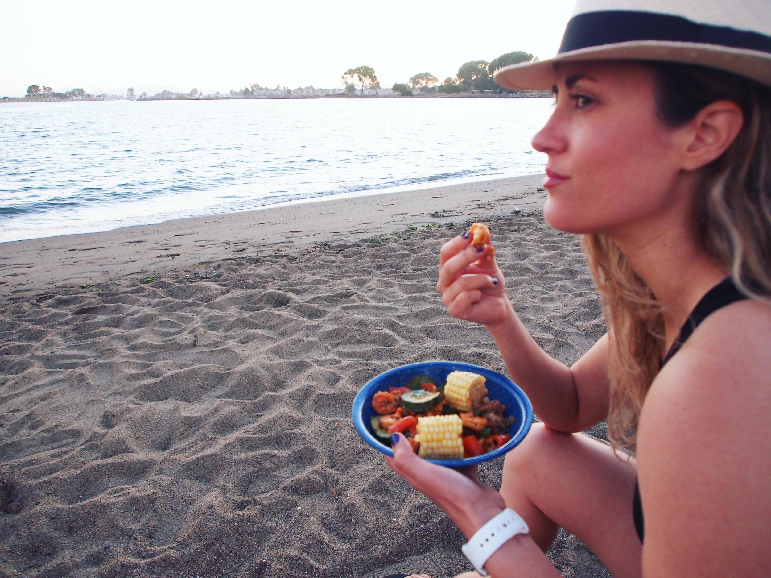A grilled cajun shrimp recipe enjoyed at Crown Beach in Alameda, CA!