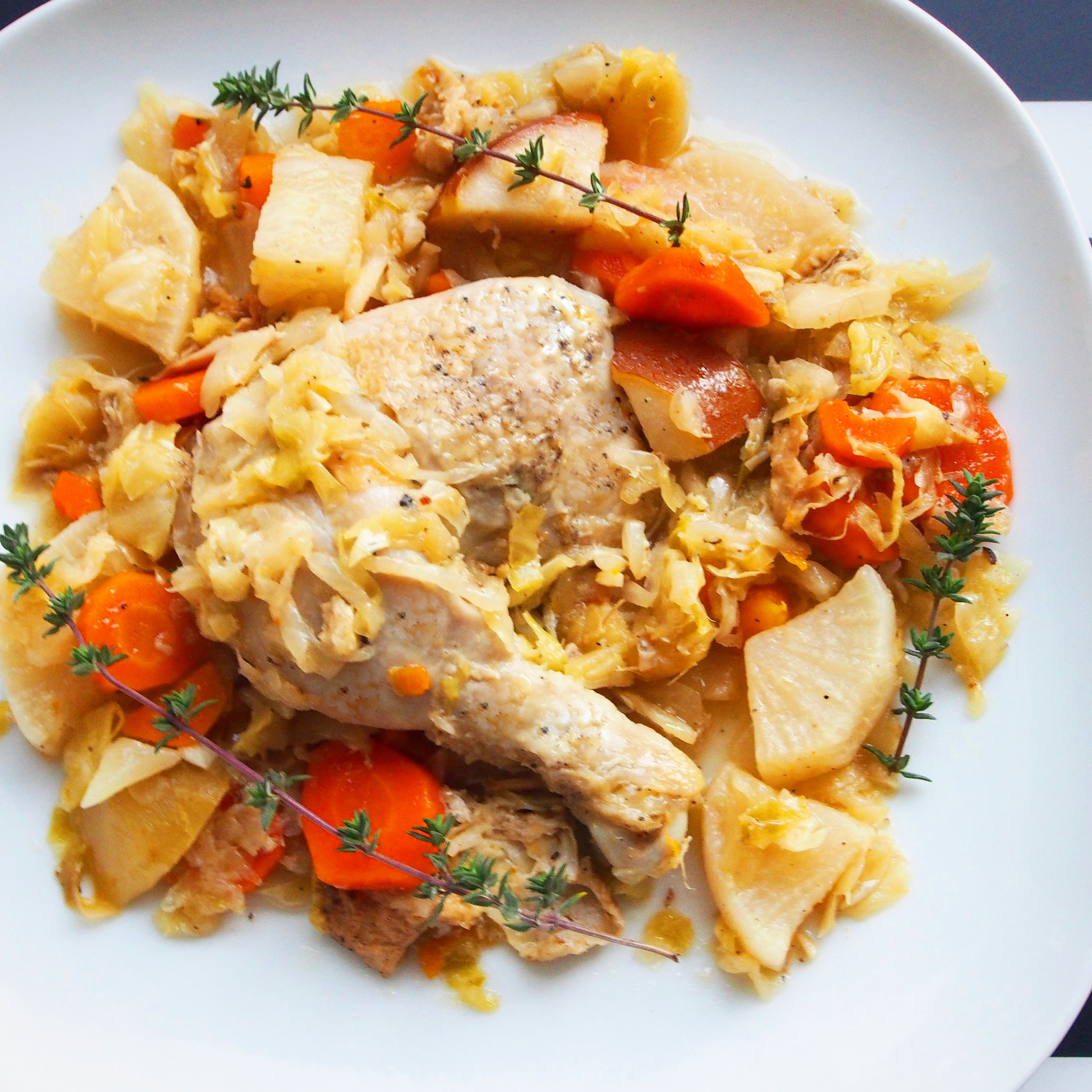"""This is a recipe for what my husband and I like to call """"German Chicken."""" It's basically just chicken with fall vegetables: carrots, radishes, and cabbage. It's a healthy and easy recipe that is perfect for winter or fall!"""