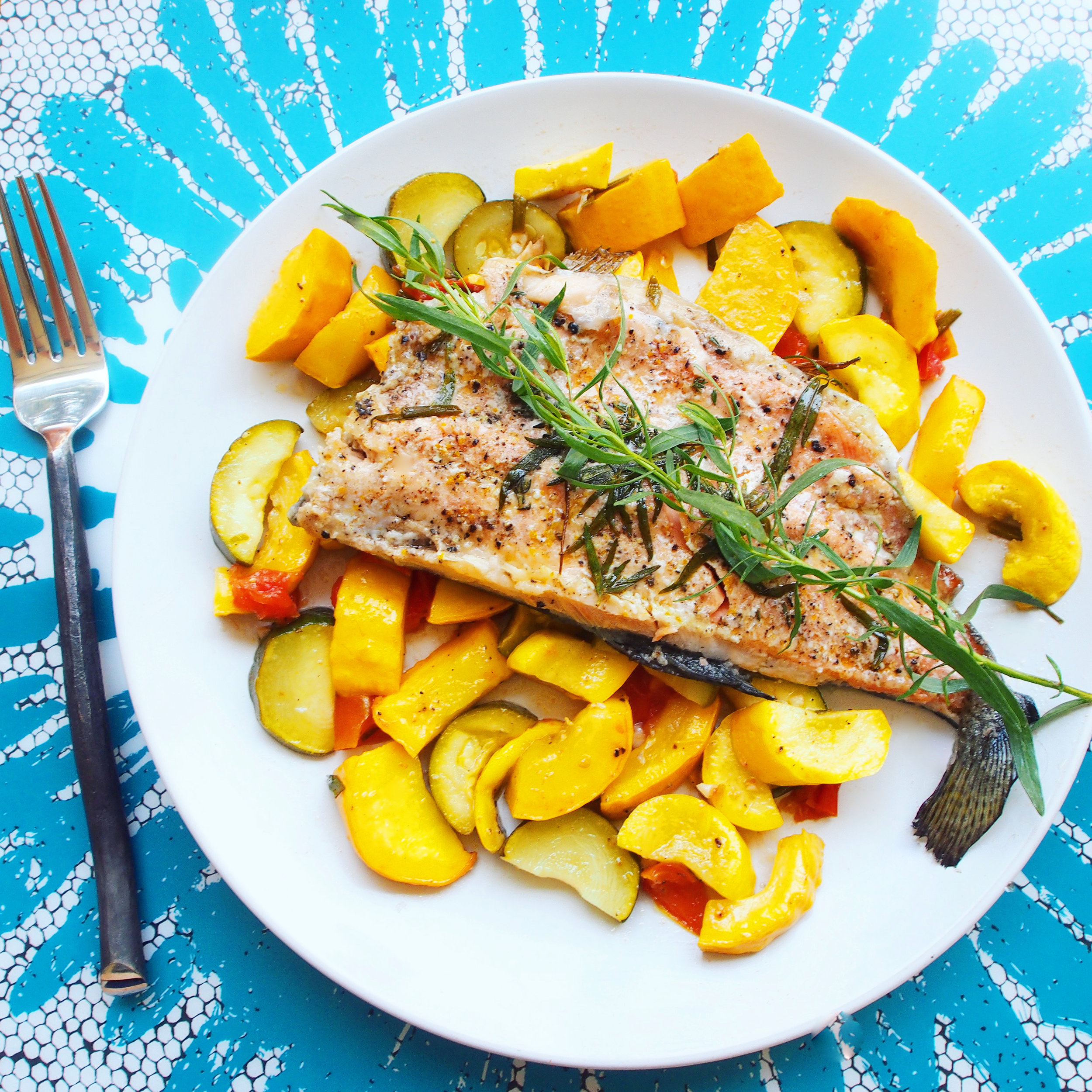 This quick and easy trout recipe has summer herbs and summer squash. Zucchini can be used to substitute the summer squash. Trout is a healthy ingredient choice in any recipe to help get your protein and omega 3s!