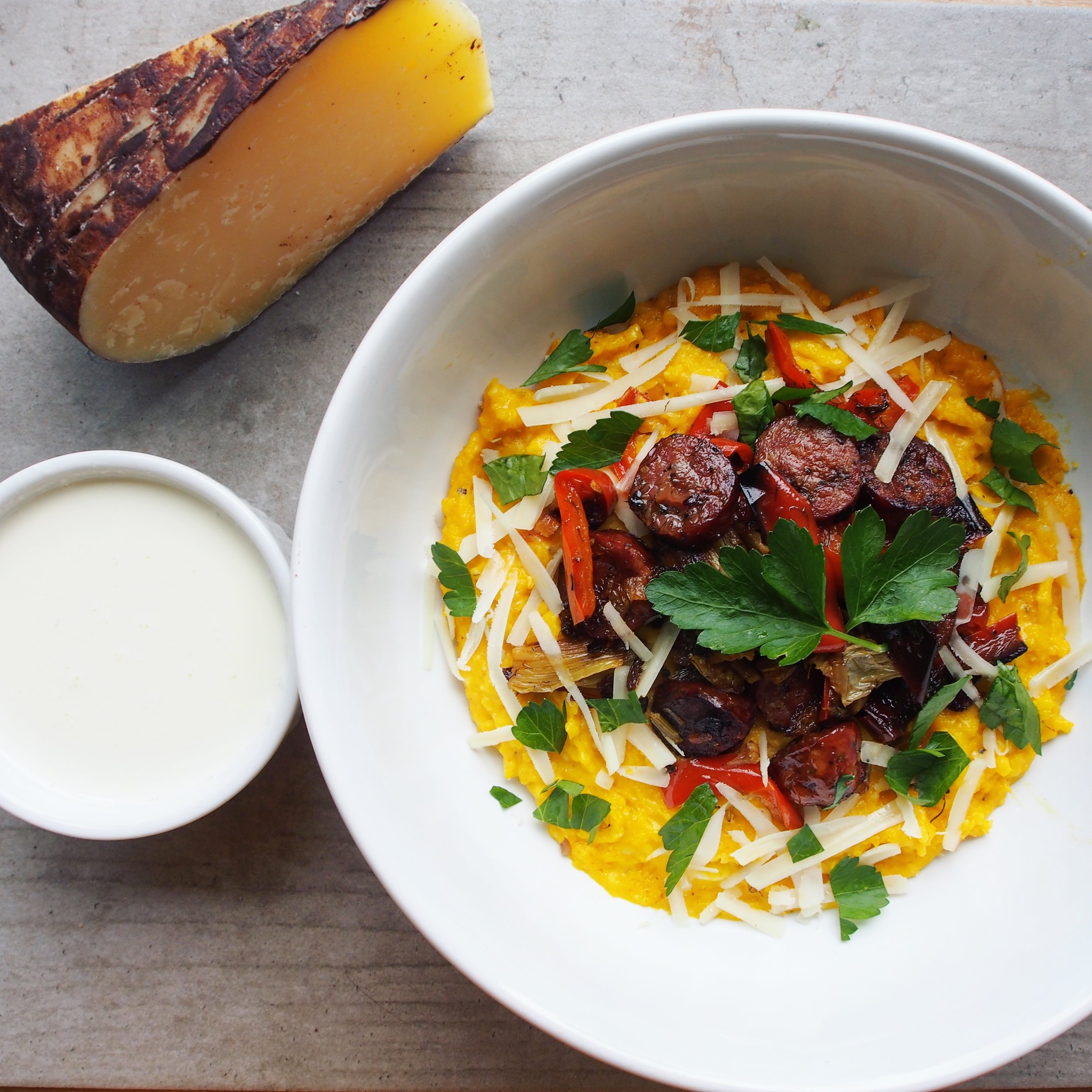 Homegrown Corn Polenta with Real California Milk Dry Jack Cheese and Queso Blanco. A tasty and authentic polenta dish that is easy and delicious and sure to please!