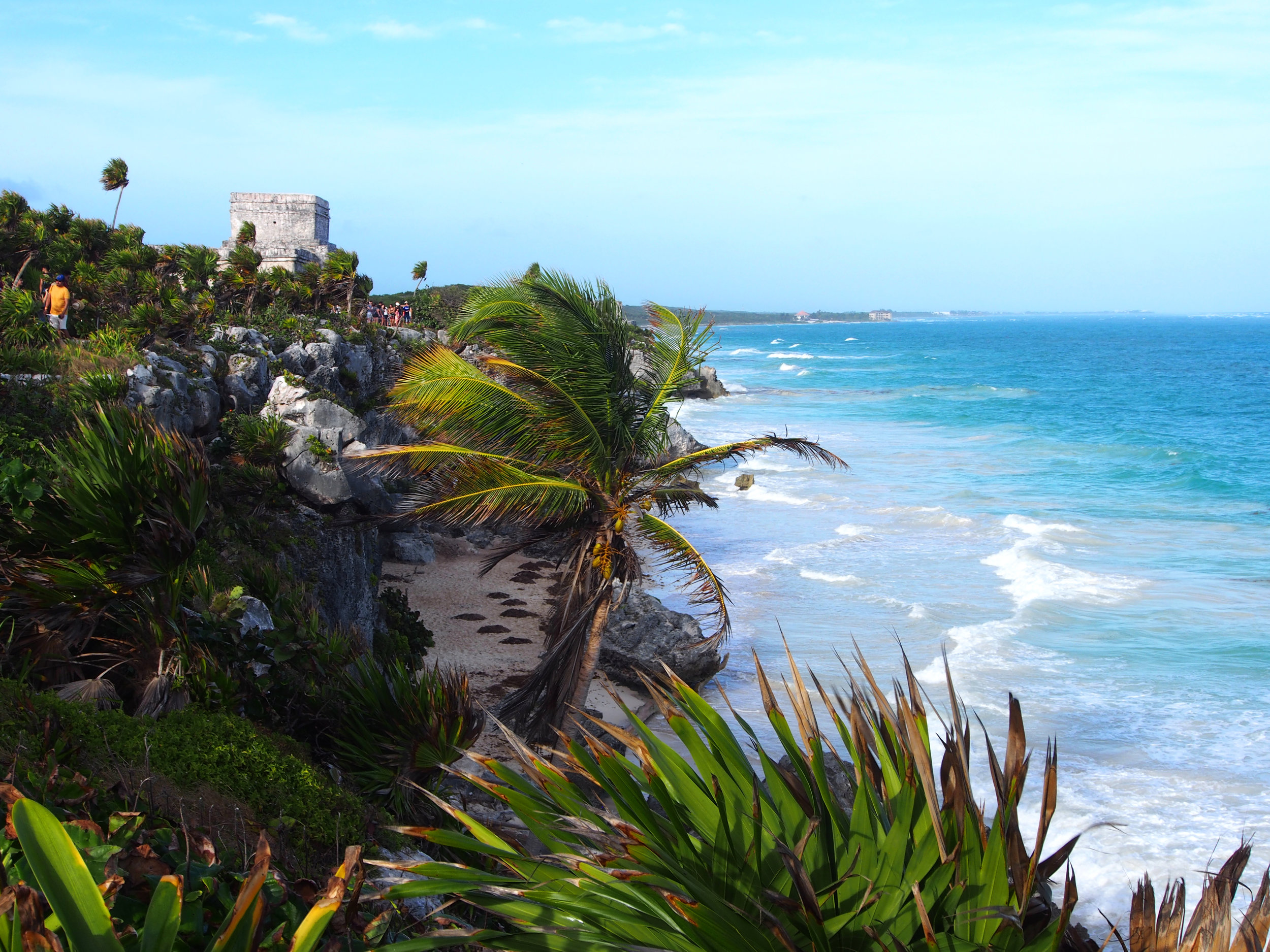 Tulum ruins view from the cliffs overlooking the Caribbean ocean