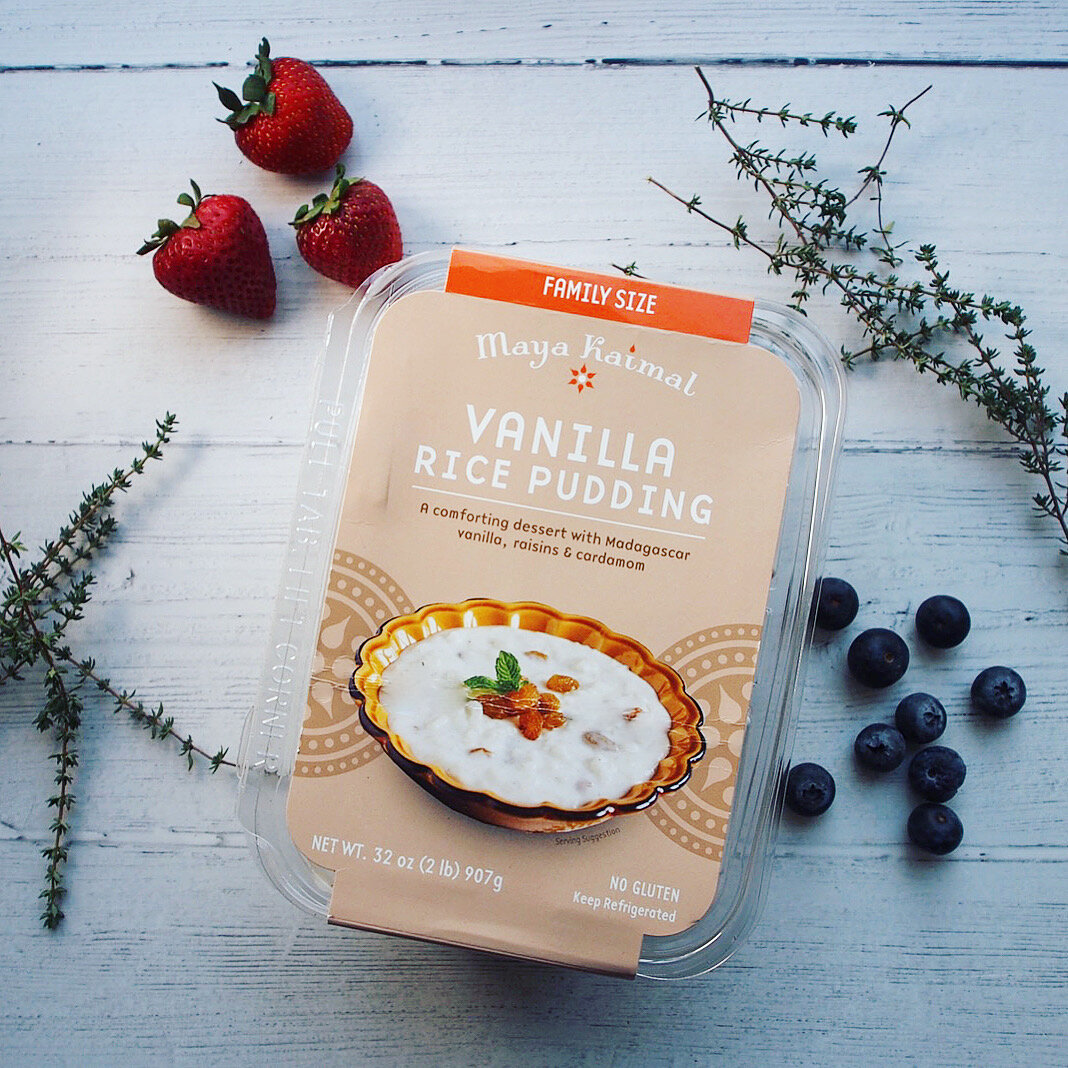 This is a box of Maya Kaimal's vanilla rice pudding, which is available at Bay Area Costco locations