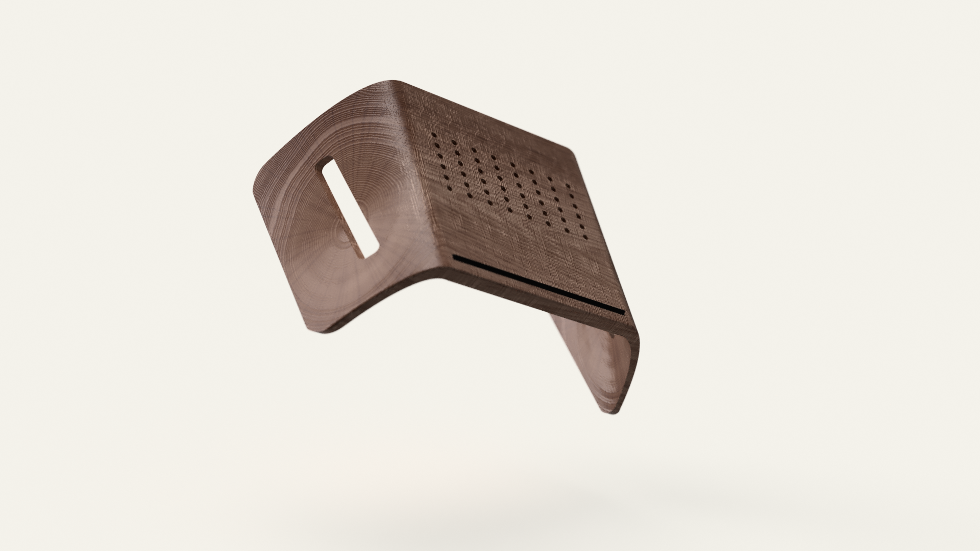 Laptop stand - July 2017 / Designed during my time at Pier 9 with CNC 5-axis CAM programmed in for walnut.Designed and rendered on Fusion 360