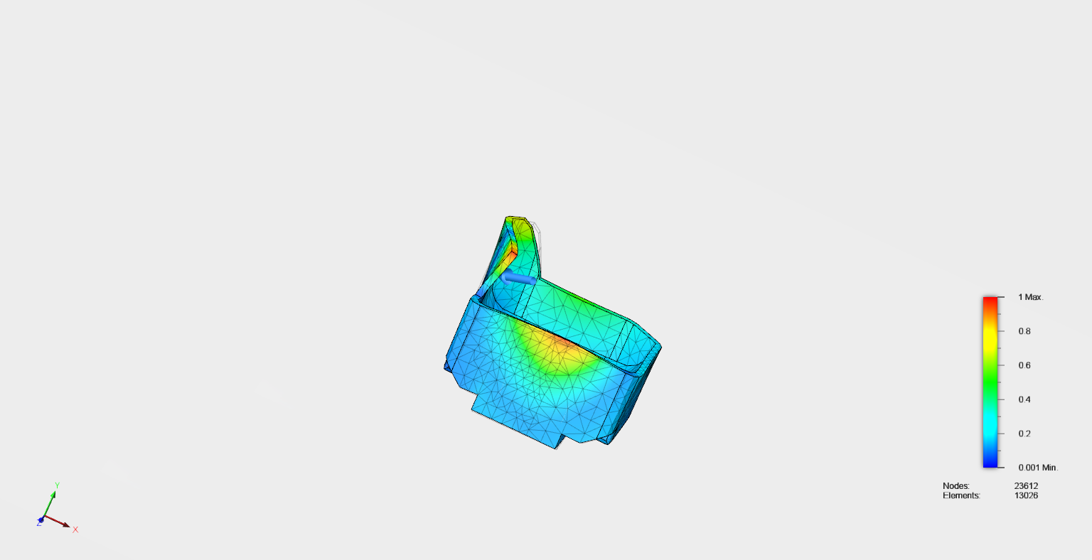 FEA STRESS TEST ON 3D-PRINTED FUEL TANK SPLASH GUARD; THIS TEST ENSURES THAT THERE WILL BE NO BREAKAGE AT HIGH IMPACT IN CASE OF DAMAGE TO CAR.
