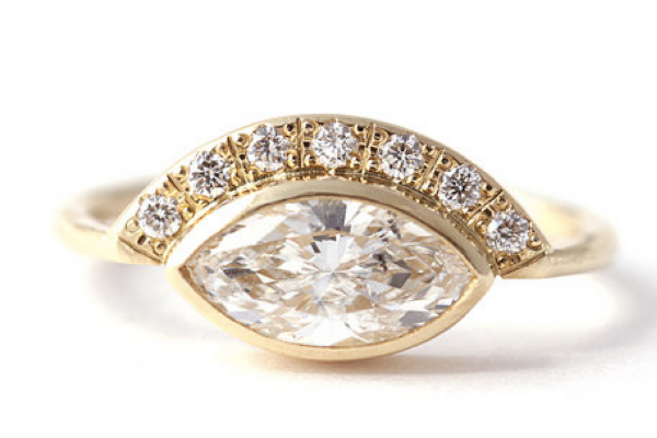 Side marquis engagement rings
