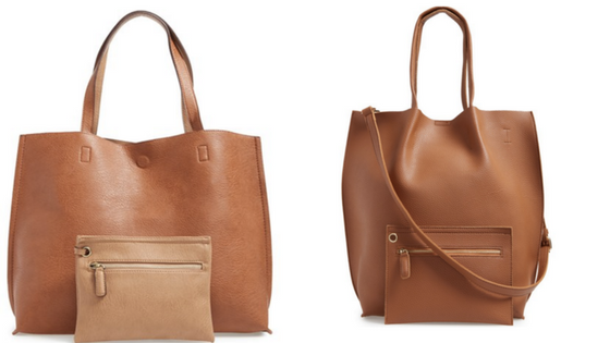 From left to right:  Street Level Reversible Faux Leather Tote $48.00  |  Sole Society Faux Leather Tote $64.95