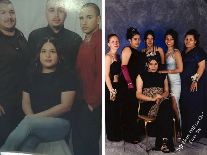 Left to right: Reyna with brothers (left to right) Israel, Johnny, and Rafael; Reyna crowned as Prom Queen