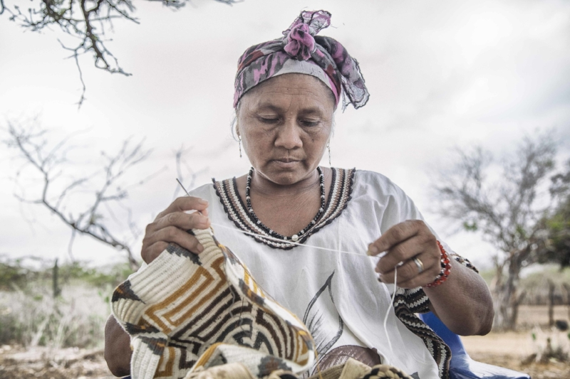 Handcrafted knitted bags from the Wayúu tribe