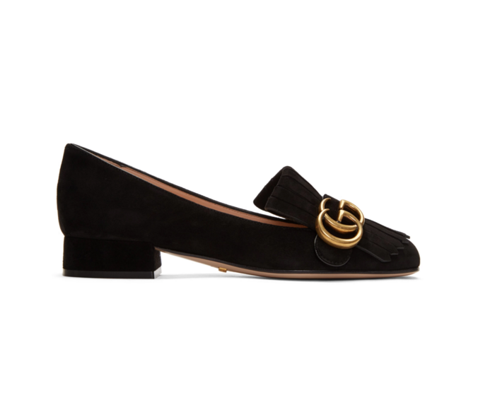 - GUCCI BLACK GG MARMONT LOAFERS, $690