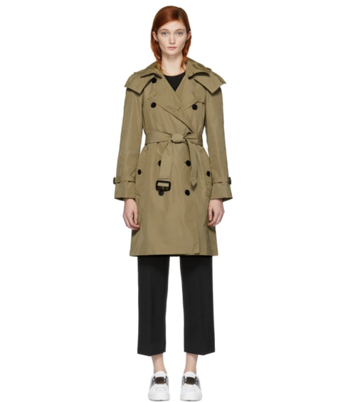 - BURBERRY TAN AMBERFORD TRENCH COAT, $795