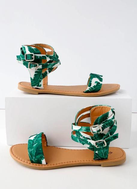11. Lulu's Green & White Tropical Sandal - $21.00