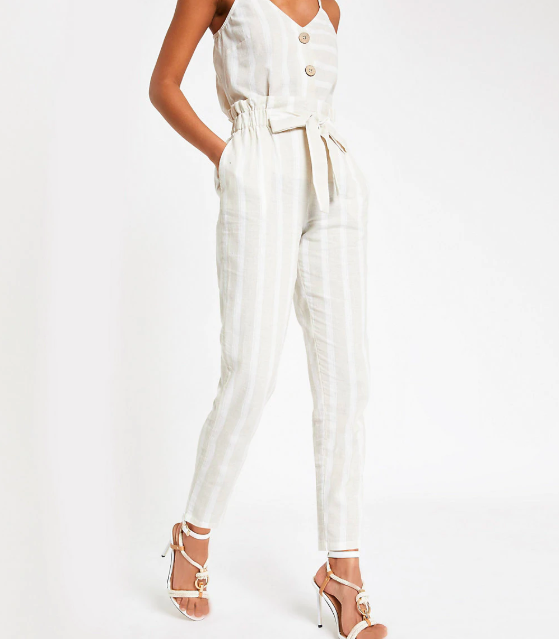 River Island - Beige Stripe Paperbag Peg Pants