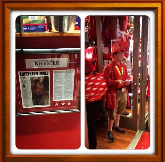 Trevor working at the Los Angeles Angels Team Store