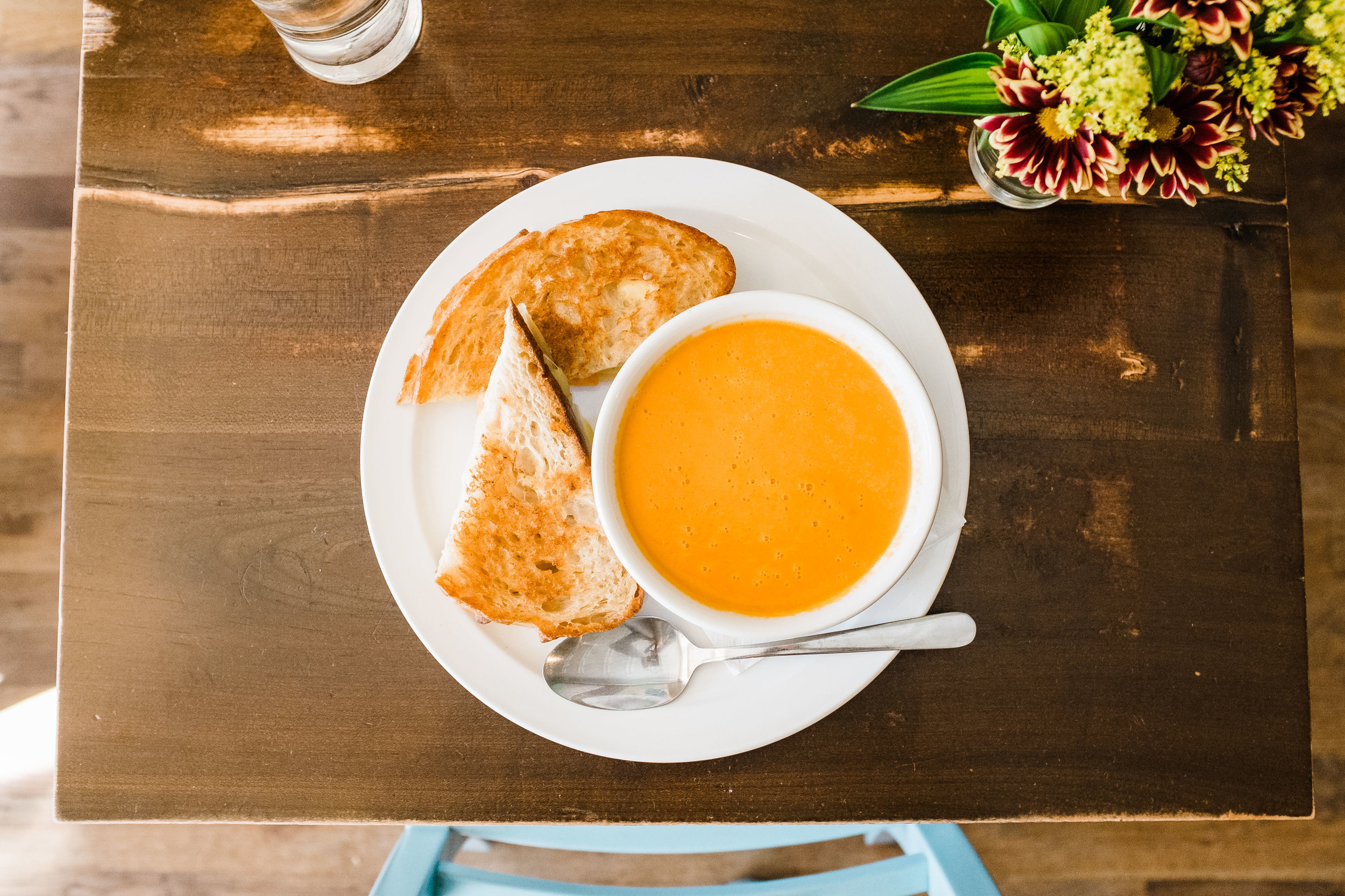 Grilled cheese and tomato and fennel soup at Bite Cafe