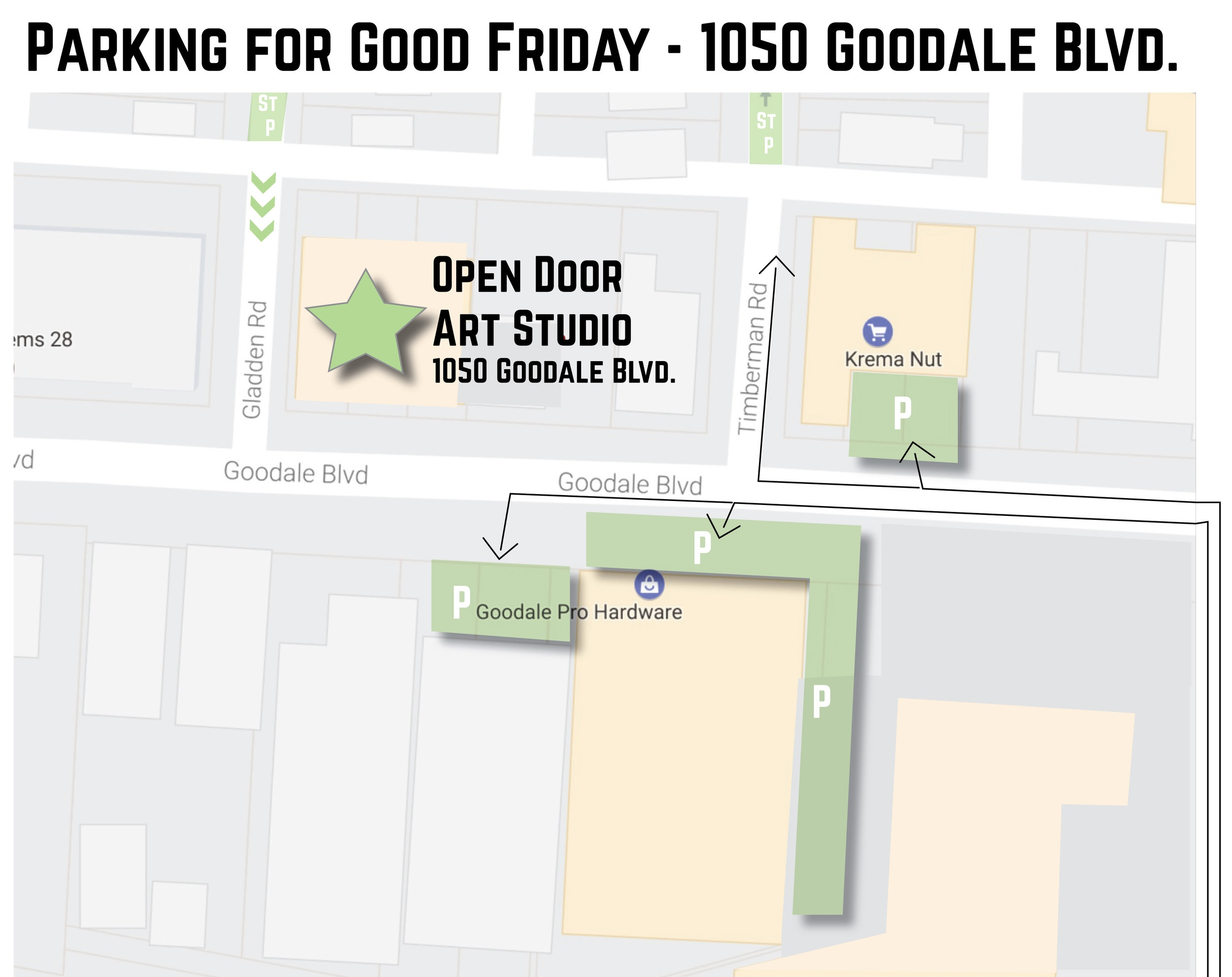 We can use the parking lots at Krema Nut & Goodale Pro Hardware And Street Parking in the neighborhood behind the studio