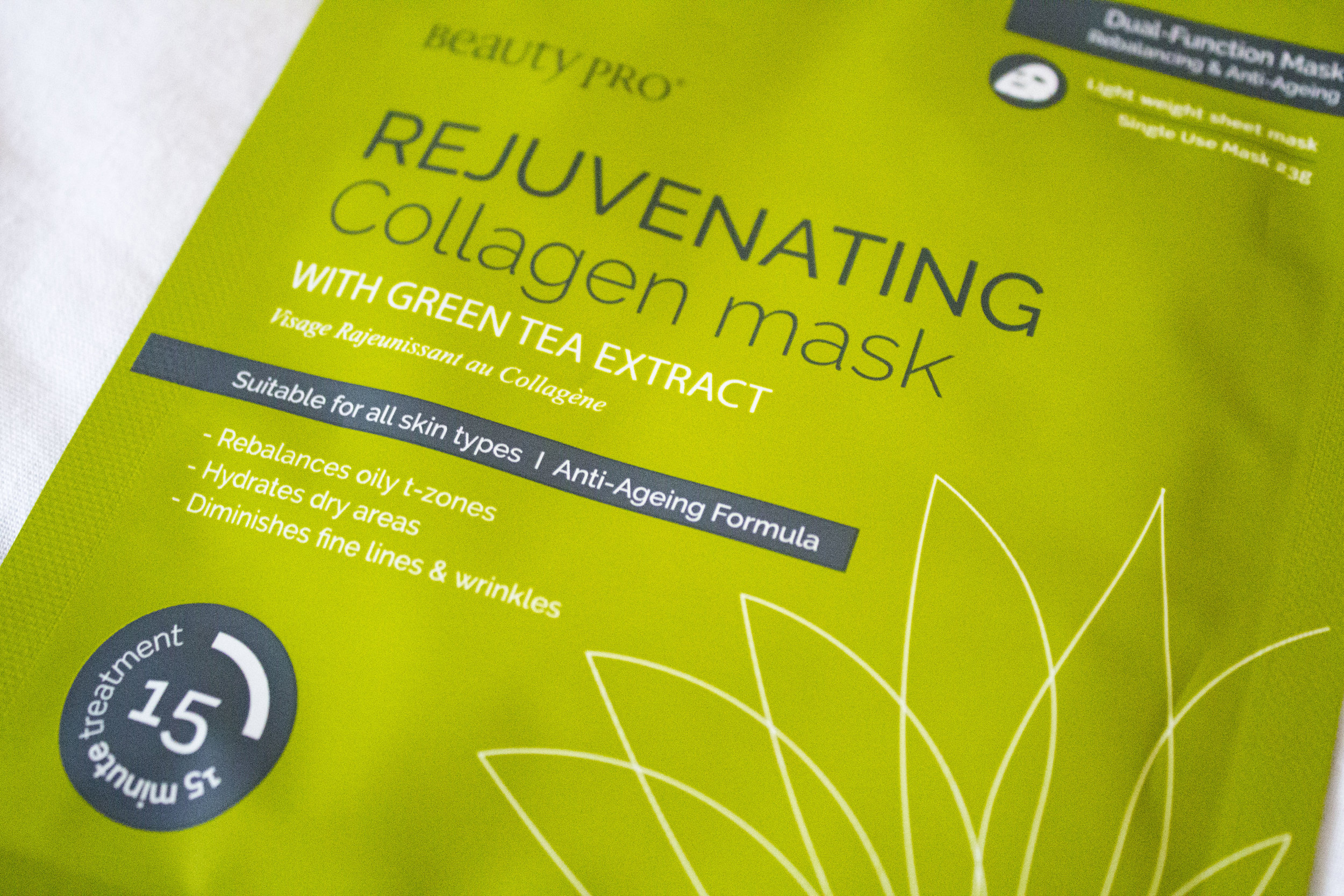 Beauty pro rejuvenating collagen sheet mask