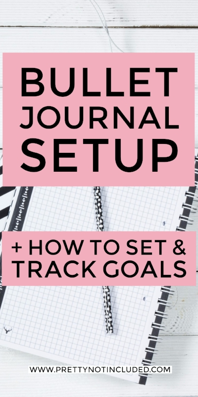 My Bullet Journal Setup + How To Set & Track Goals on a weekly, monthly and yearly basis. Includes my current spreads, additional pages to add and what stationery and tools I use in my bullet journal.