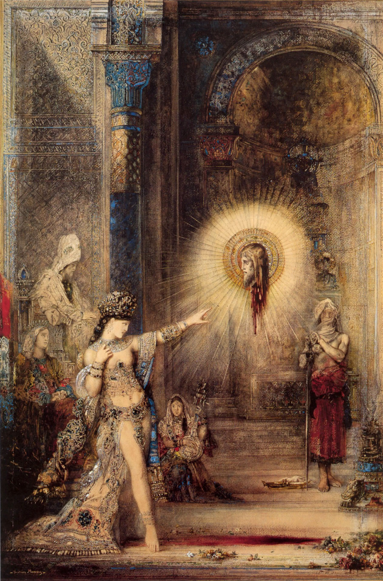 Salome and the Apparition of the Baptist's Head , watercolor by Gustave Moreau