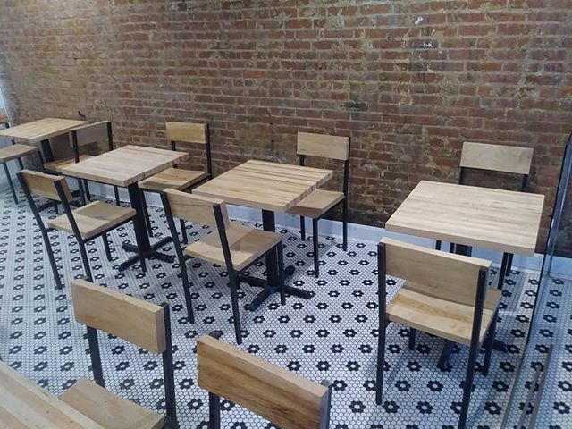 Maple butcher block tables and custom chairs for @ripplewinebar