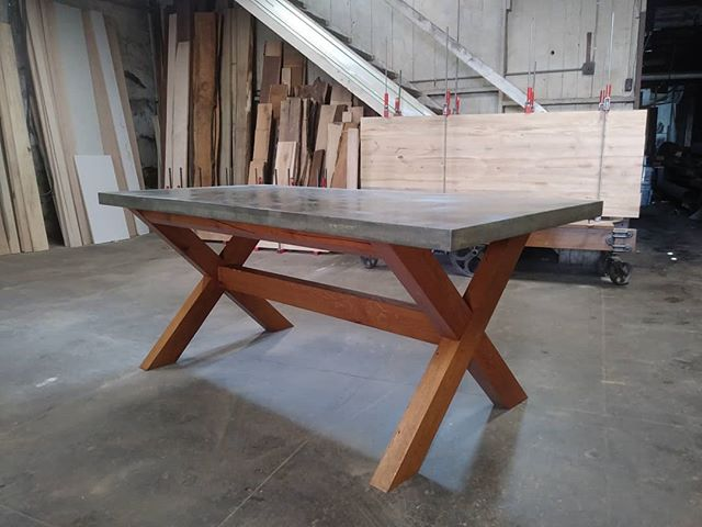 Our workshop will be open tonight from 5-9 for Hamilton's Alive After 5. Stop in if you are interested in checking out the shop. Pictured is a concrete table top with an oak base.