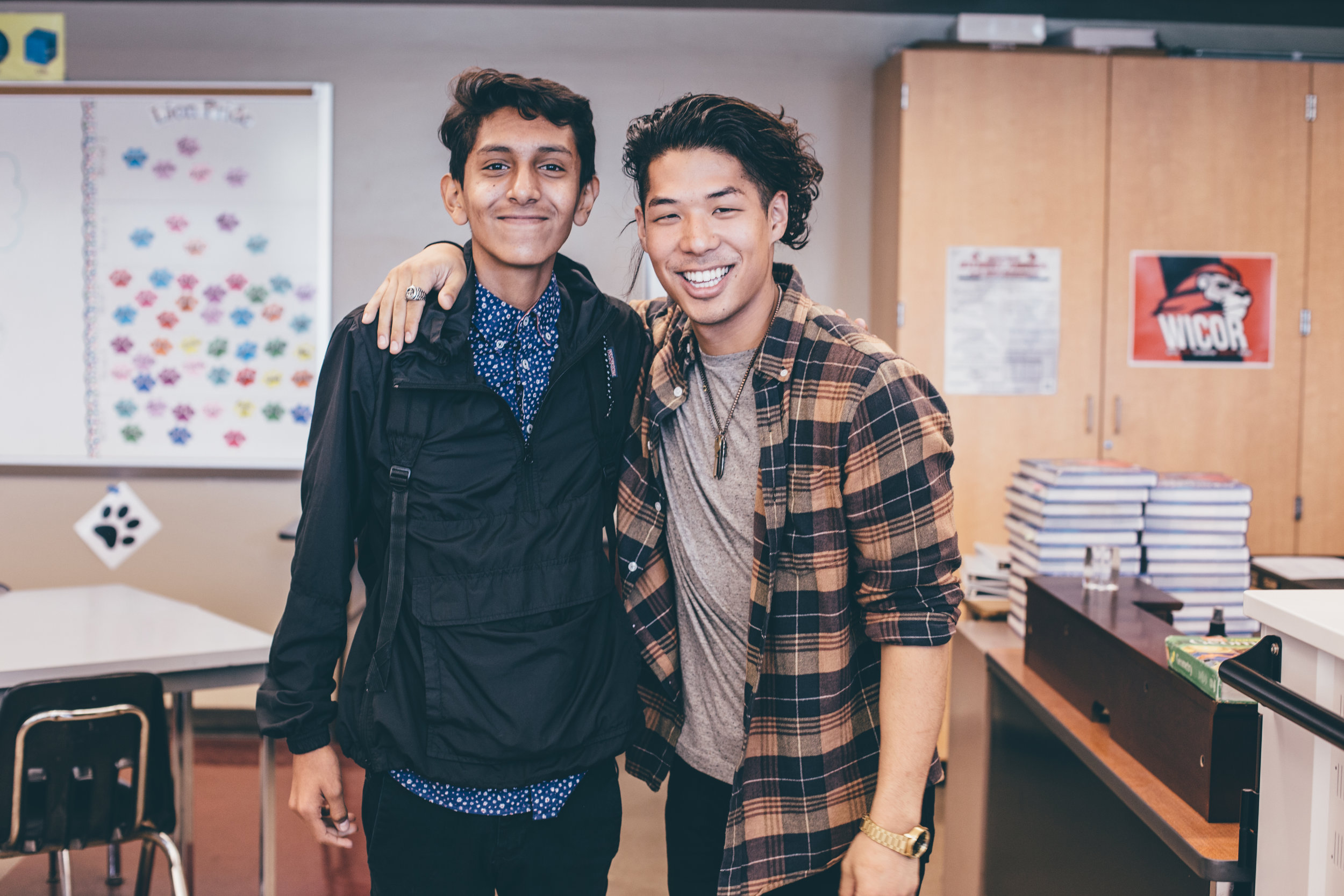 Pictured: Pastor Josh and Eros Cortez (sophomore) who us into Westminster High School to share at the Risen Bible Club