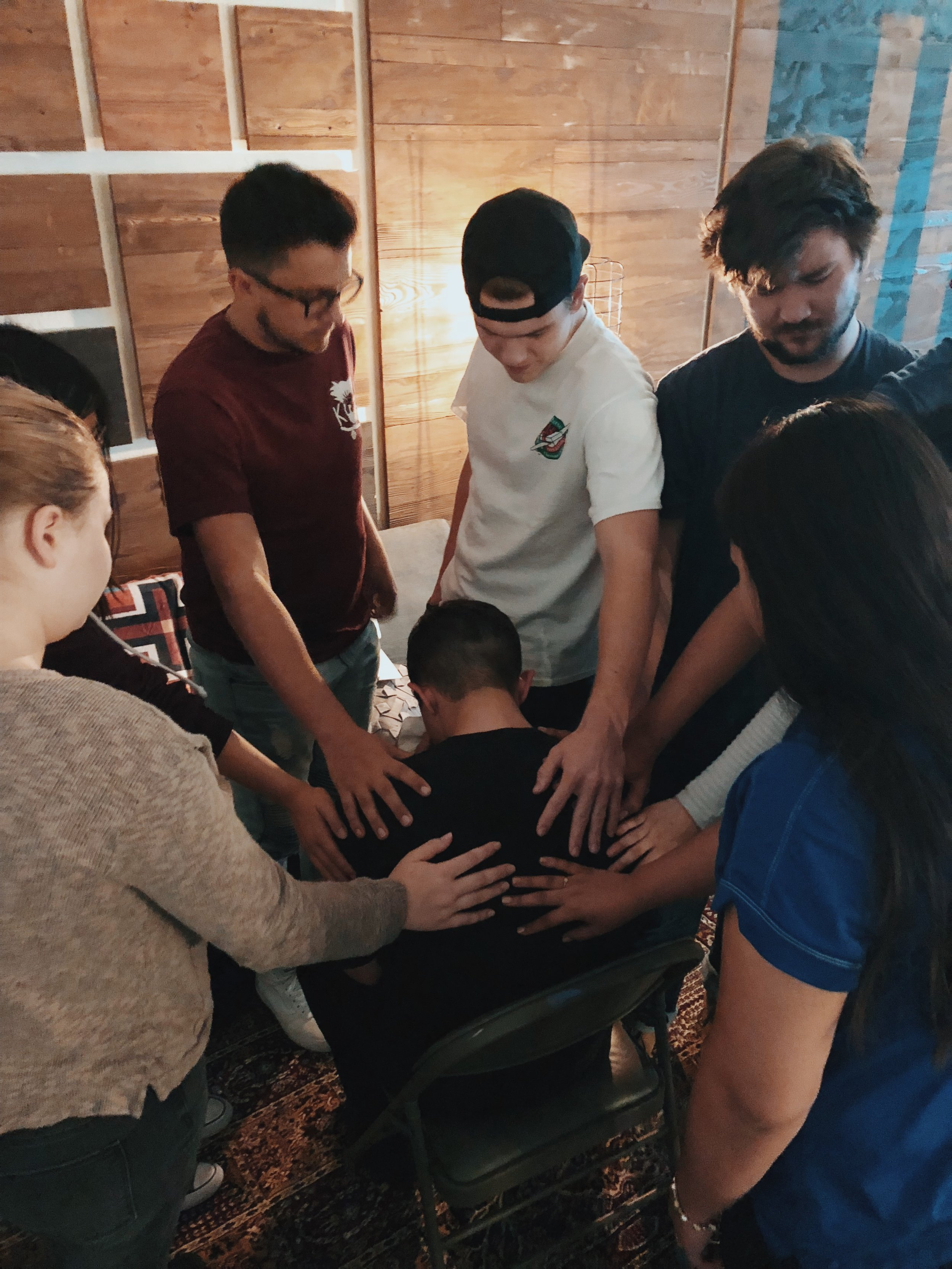 Our Jr. High Leadership team praising and praying to God for Chad's calling and pursuit after it.