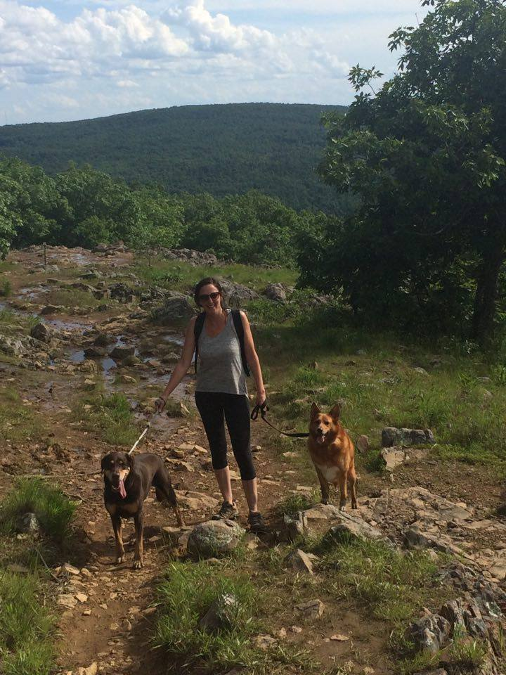 Taum Sauk Mountain Park in the Missouri Ozarks. My favorite hiking companions, Jasper & Clyde.