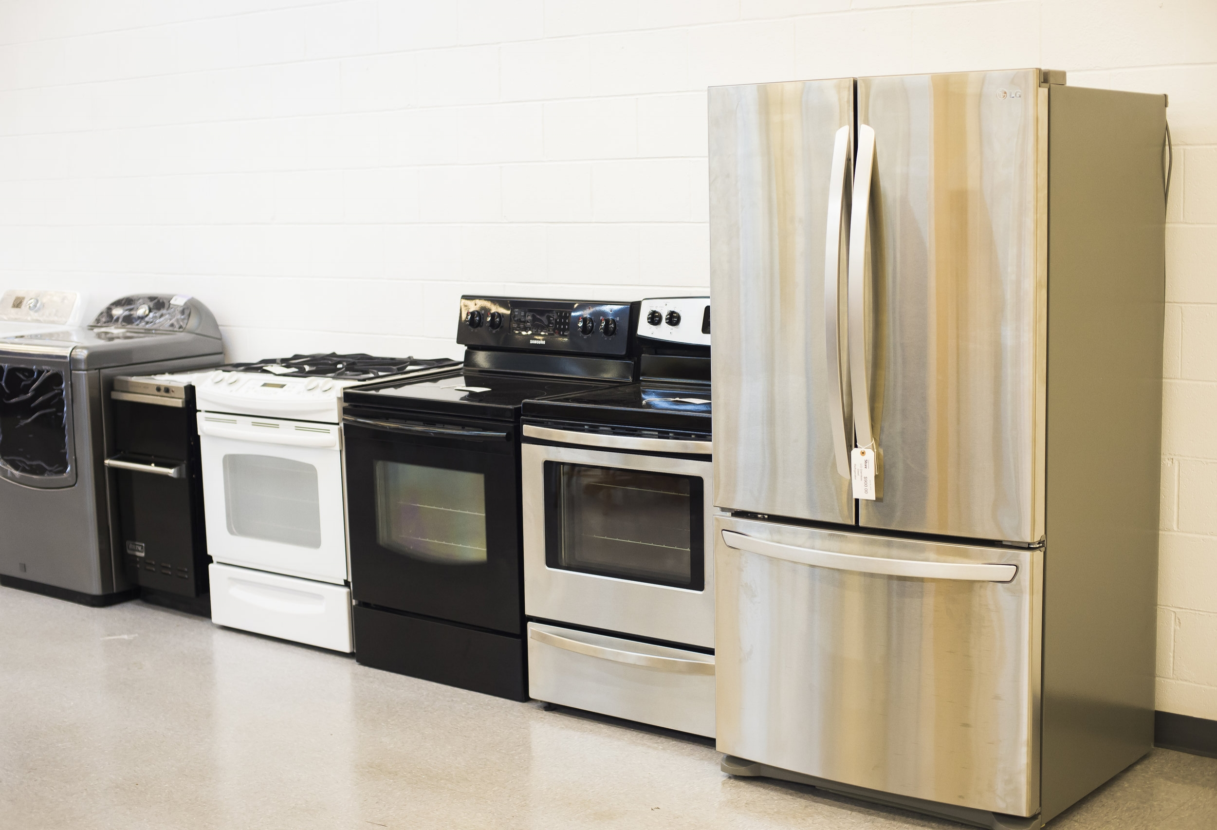 APPLIANCES   All donated appliances must be clean and in working condition. You can find both gas and electric stoves, washers, and driers, as well as refrigerators.