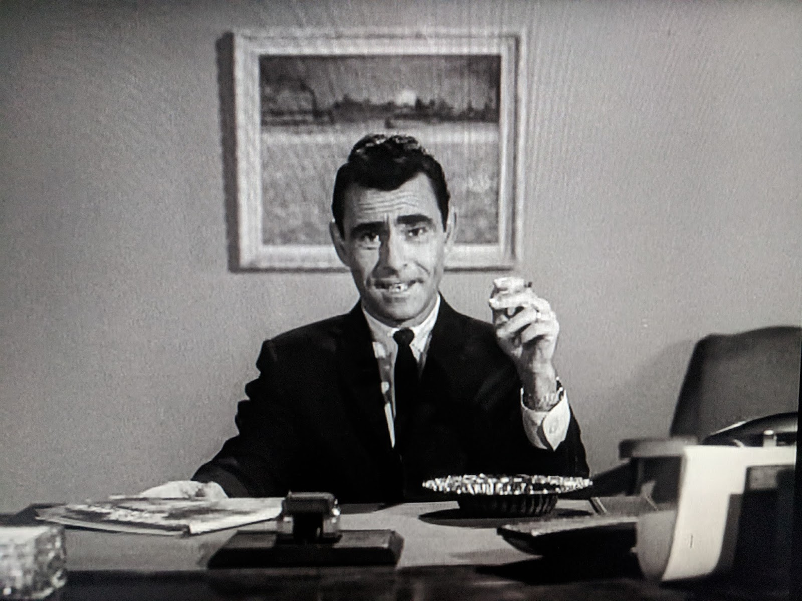 Rod Serling in  The Twilight Zone  — not a robot. Or is he?