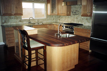 40mm (1 9/16in.)  Standard Style  Iroko Island Worktop  & 30mm (1 3/16in.) Royal Style  Merbau Table