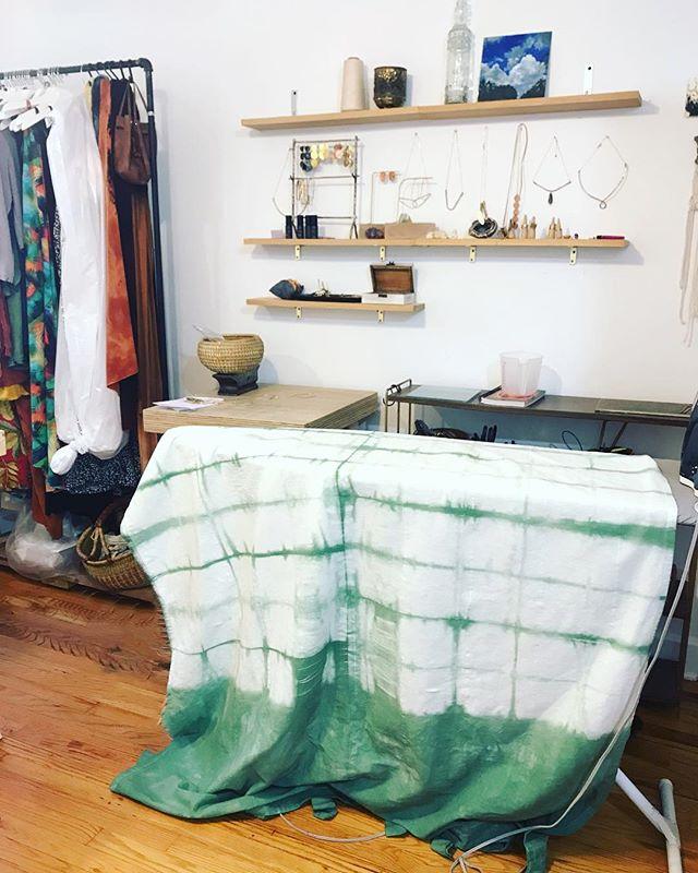S T U D I O | a new favorite color in the works for summertime #bts . . . . .  #rwxlifestyle #studio #asheville #ashevillefolk #bohostyle #lifestyle #designerstyle #modernbohemian #bohochic #eclectic #wanderlust #sustainablefashion #ethicalfashion #styleofig #fashiondesigner #shoplocal #design #thefutureishandmade #shibori #handdyed