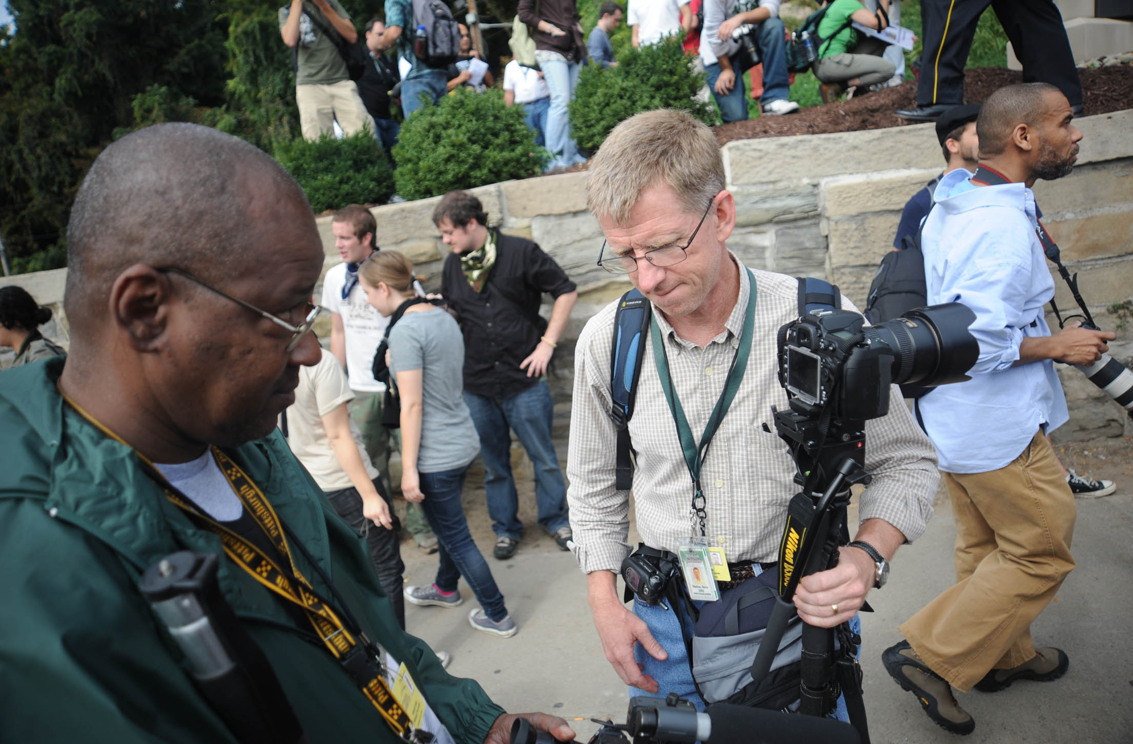 My colleague Nate Guidry (left) and I cover the G-20 Summit in Pittsburgh.