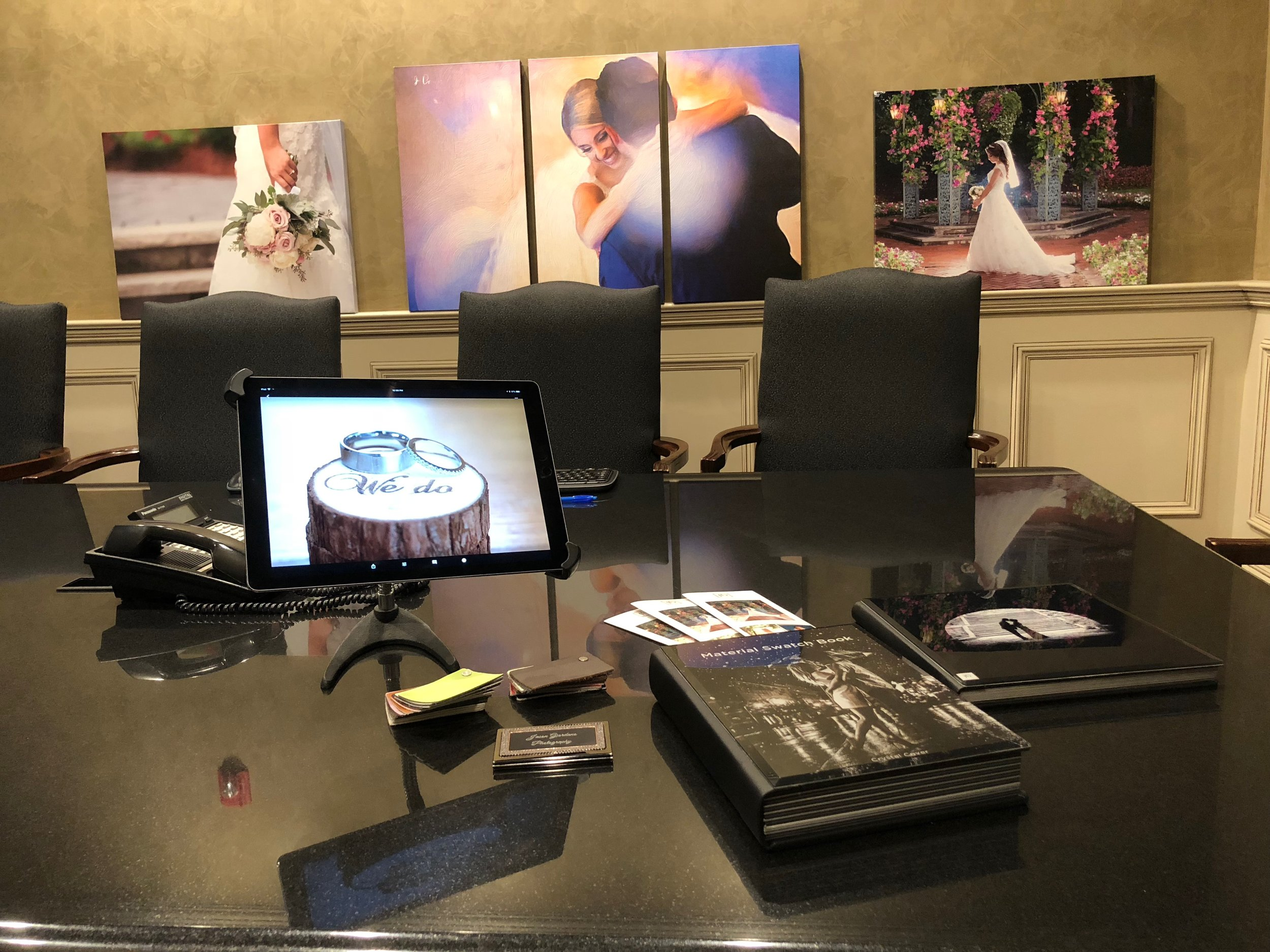 Come see our wedding photography portfolio. Visit our luxurious conference room. By appointment only. We would be happy to go over many wedding picture ideas and the many options available to you.