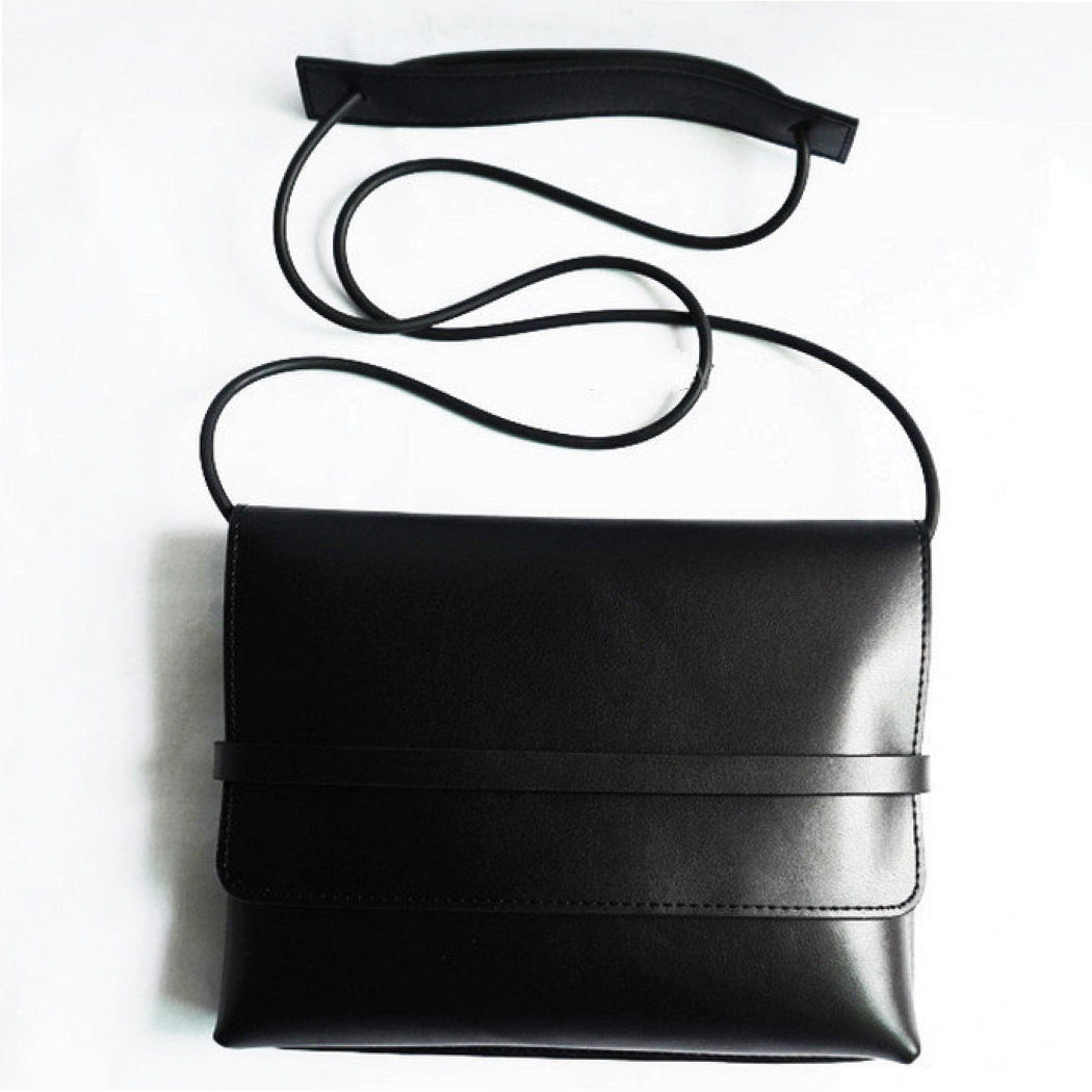 Gift Guide for Her- Simple Black Leather Cross-body Bag with Folded Flap