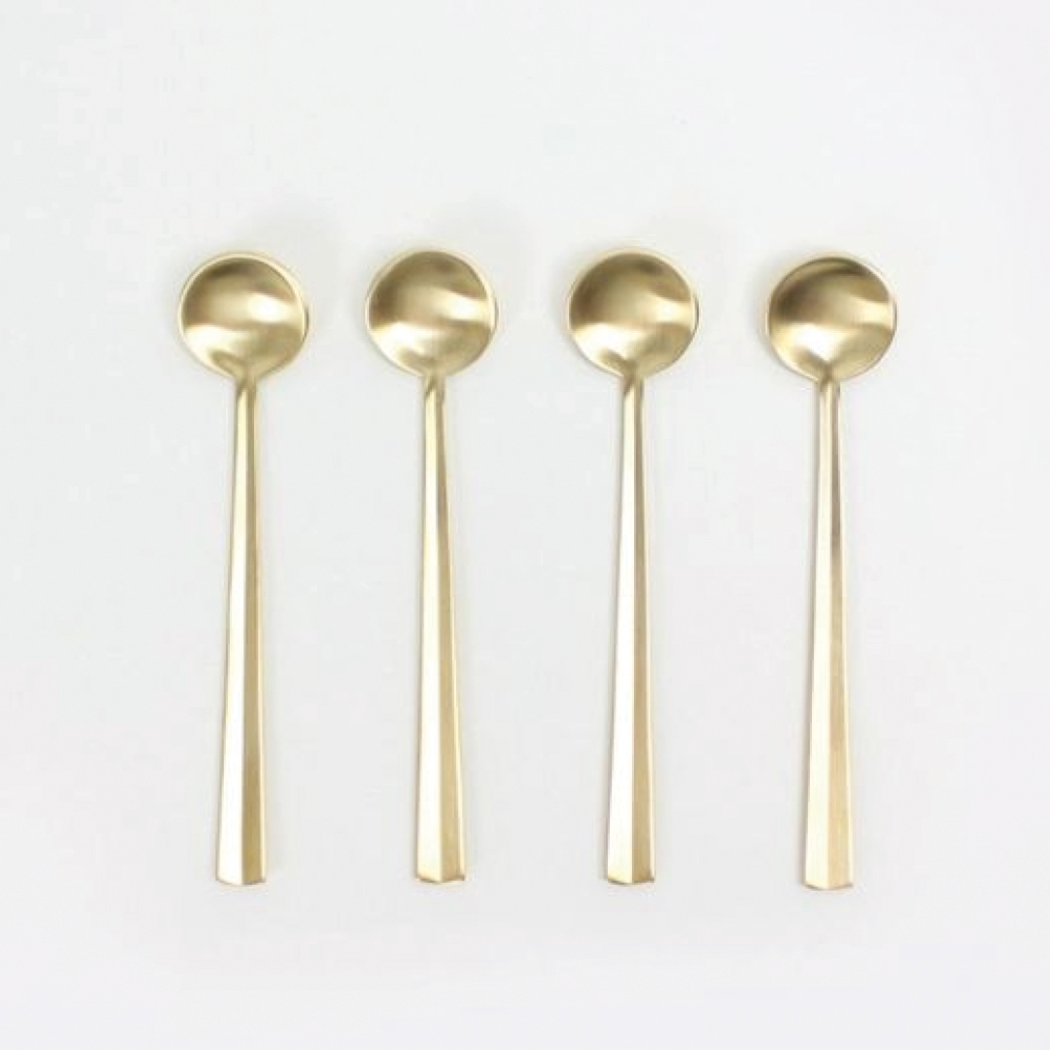 Gift Guide 2016- For the Foodie and Home Cook - Set of Gold Brass Coffee Spoons