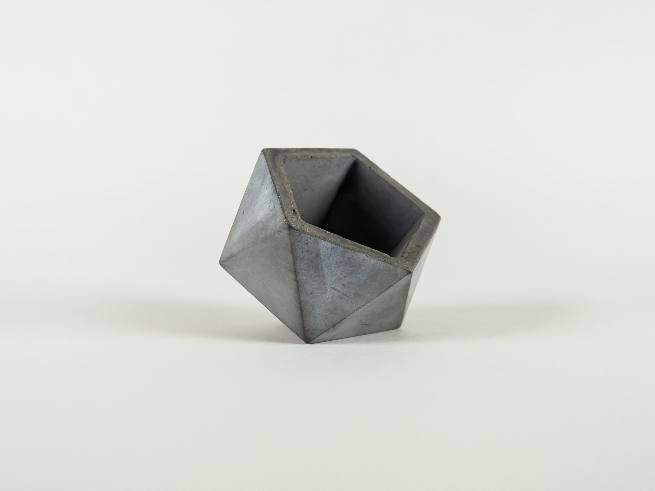 Dark Grey Geometric Side sitting Concrete Succulent Planter by The Savvy Heart