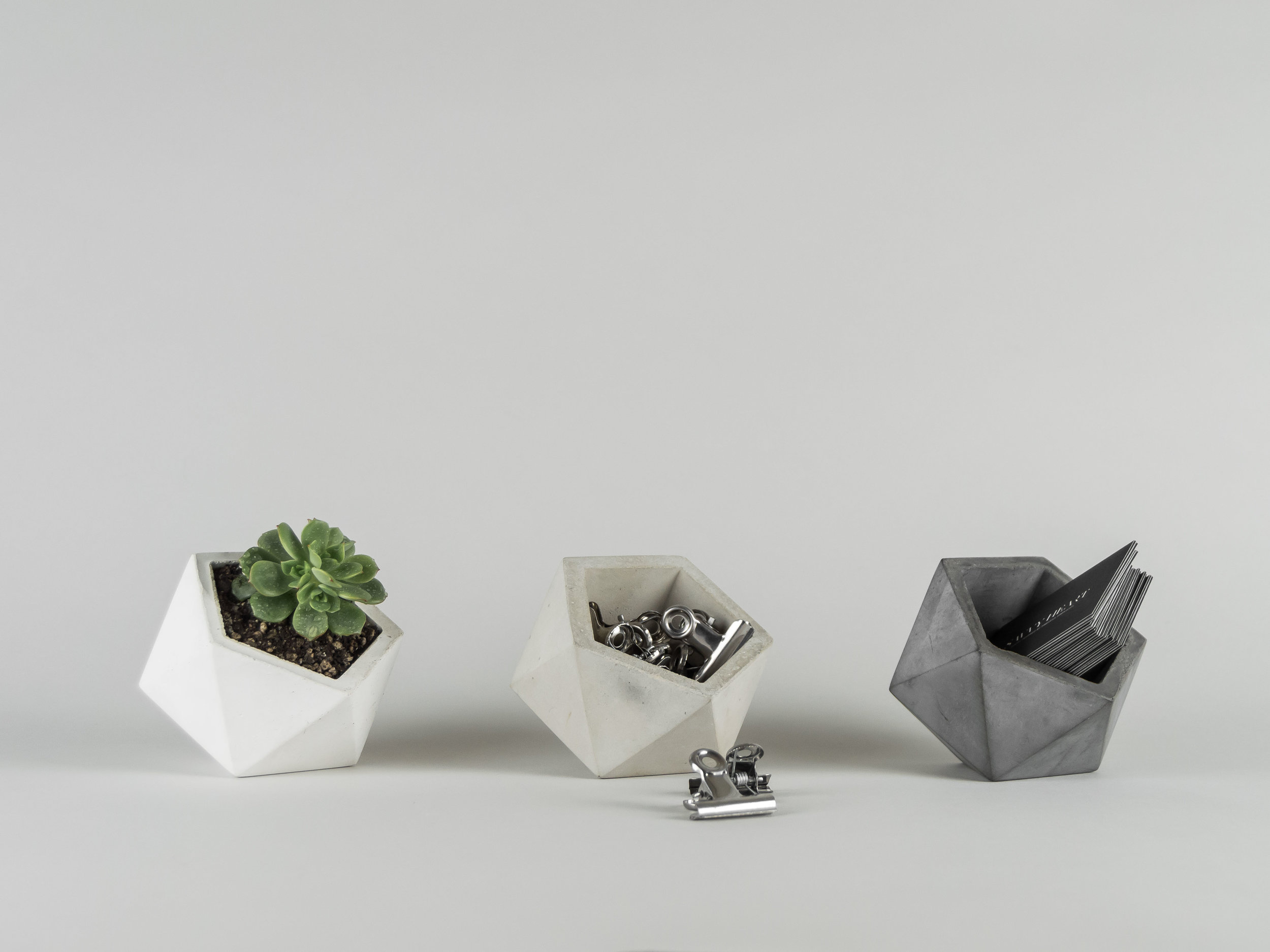 Copy of Three geometric concrete vessels in gray, natural and white by THe Savvy Heart