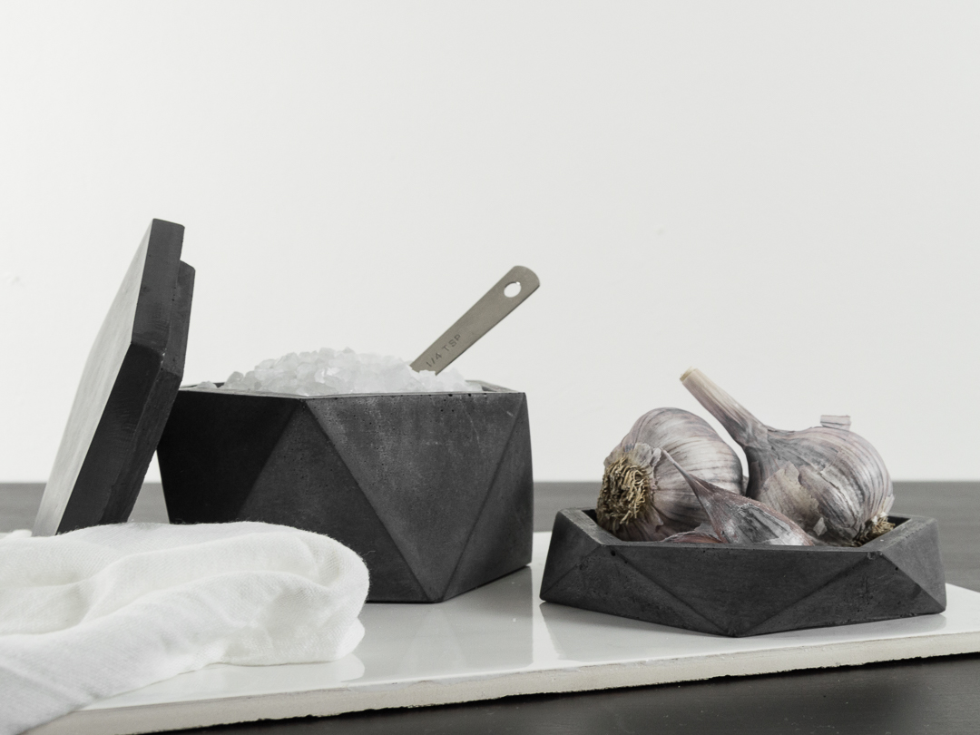 Geometric Concrete Salt Cellar Box and Tray in dark gray by the savvy heart.jpg