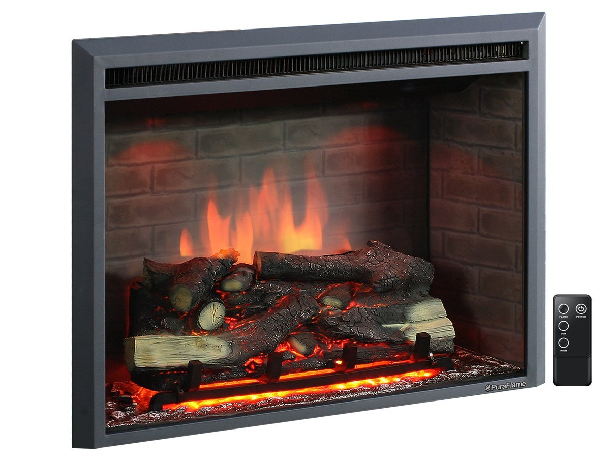 PuraFlame 30 Western Electric Fireplace Insert with Remote Control, 750 1500W, Black.jpg