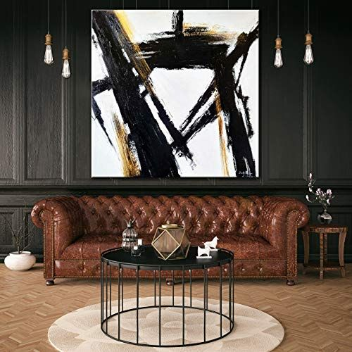 Large Original Abstract Painting On Canvas, black and white wall art TG081 art handmade Acrylic from Studio Trend Gallery.jpg