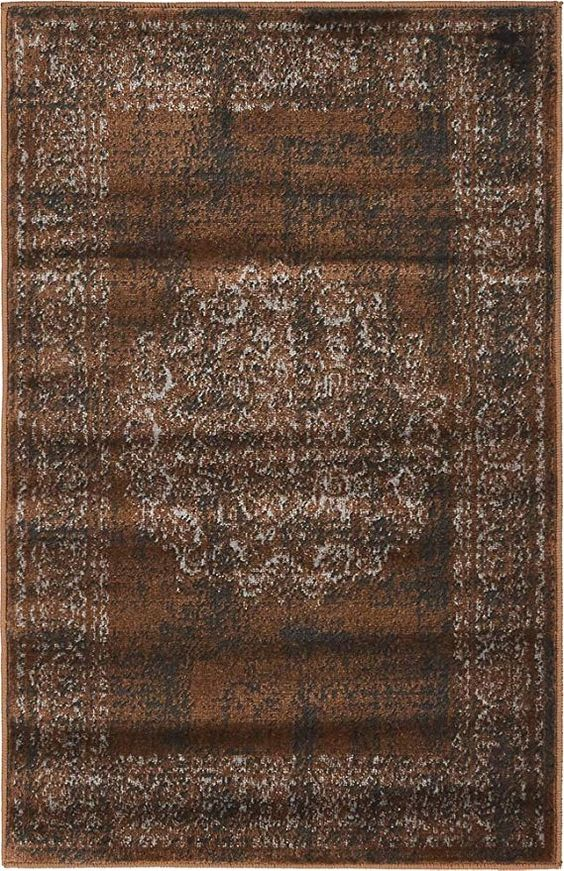 Unique Loom Imperial Collection Modern Traditional Vintage Distressed Chocolate Brown Area Rug Home & Kitchen.jpg