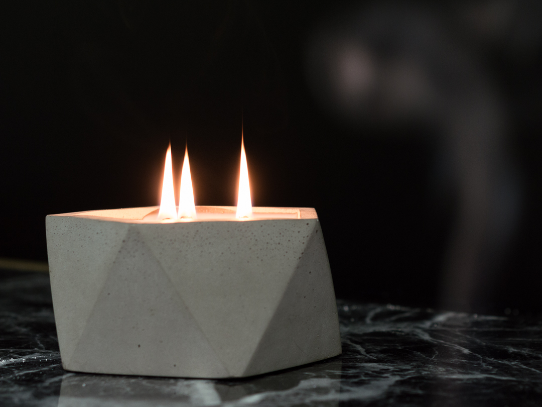 Fallen Leaves Scented Geometric Concrete Candle by The Savvy Heart x Lake Washington Candle Company.