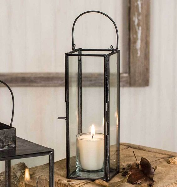 Outdoor to indoor floor lantern for fall and winter decorating