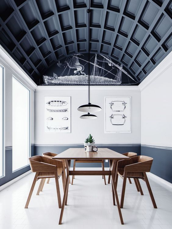 Statement Wood Coffered Ceiling and Paneled walls - interior design trends of 2019 by the savvy heart